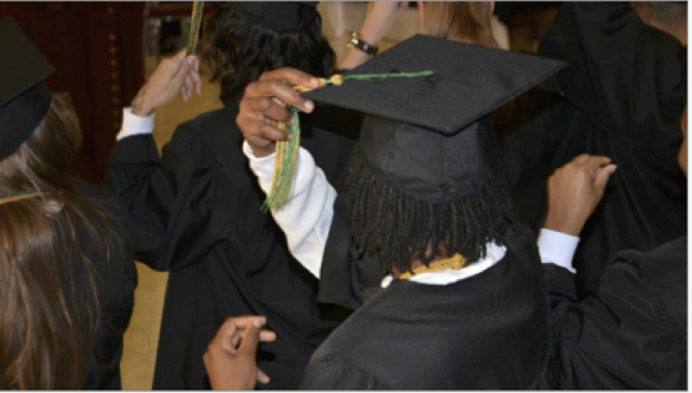 New Life University graduates at Arrendale State Prison turn their tassels to the left. January 28, 2019.